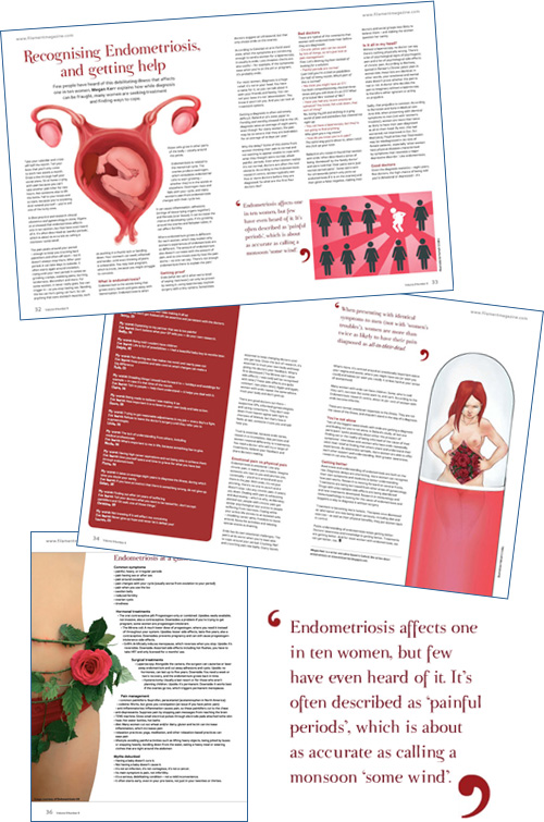 5-page spread on endometriosis in Filament magazine, Recognising Endometriosis & Getting Help